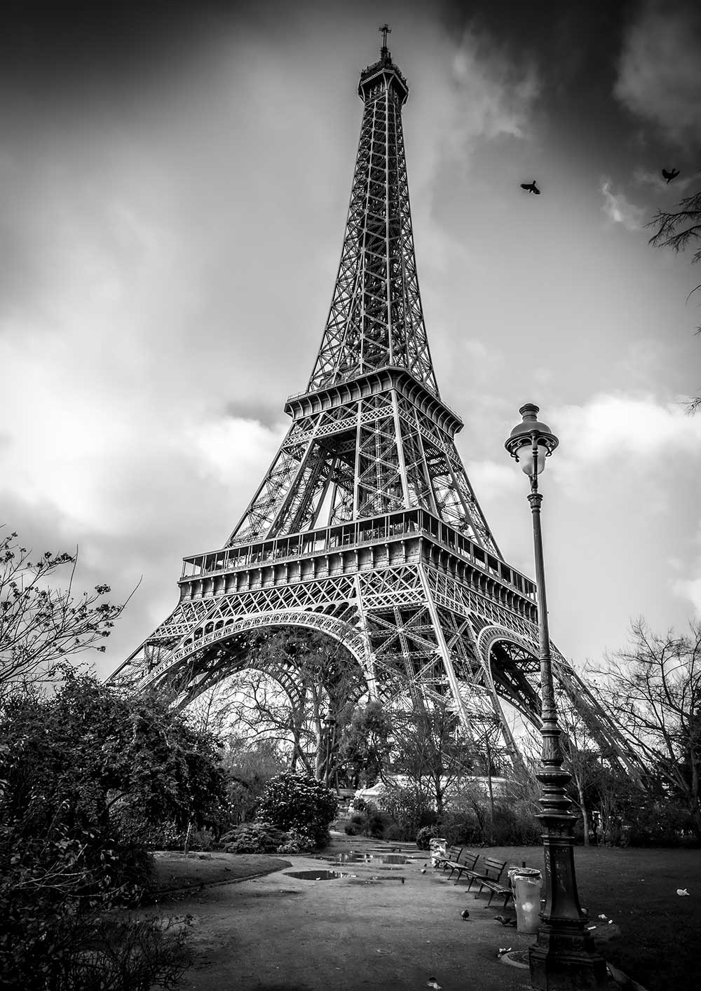 photo paris la tour eiffel champ de mars image art noir et blanc emmanuel gill. Black Bedroom Furniture Sets. Home Design Ideas