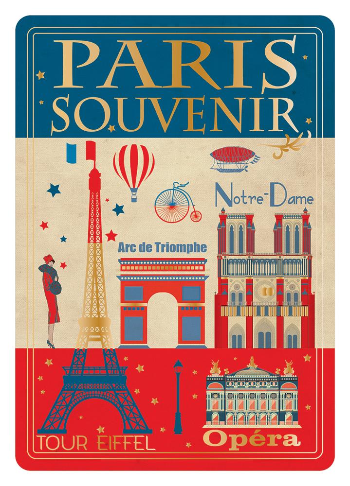 Carte Postale Paris Dorure - Paris Souvenir Illustration