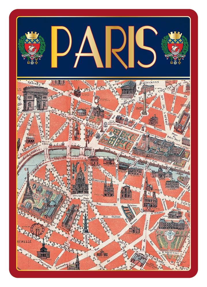 Carte Postale Paris Dorure - Plan de Paris Ancien