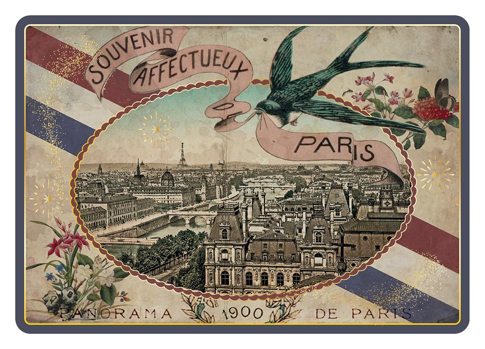 Carte Postale Paris Souvenir - Dorure à chaud