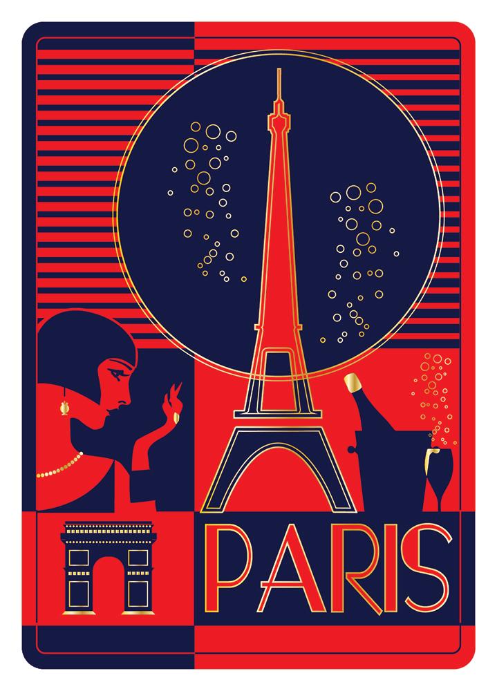 Carte Postale Paris Souvenir - Art Déco Illustration
