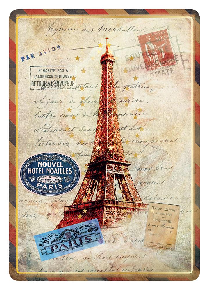 Carte Postale Paris Souvenir - Tour Eiffel Rouge