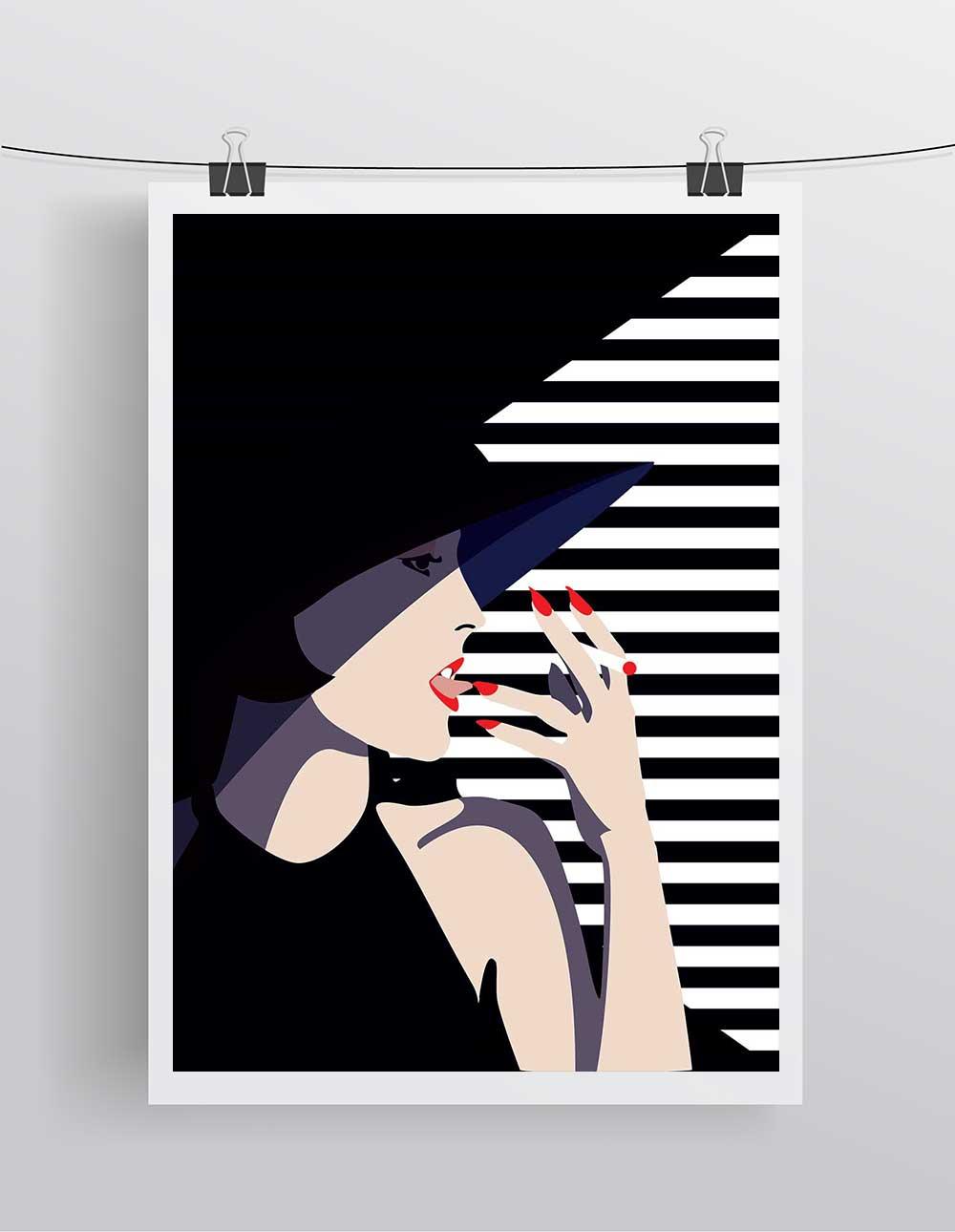 affiche illustration mode poster minimaliste vogue style. Black Bedroom Furniture Sets. Home Design Ideas