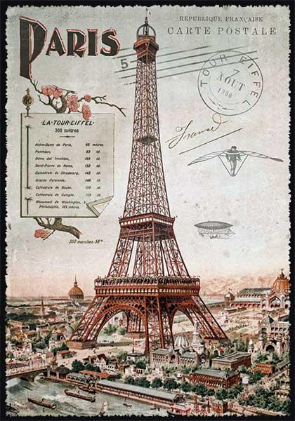 carte postale paris vintage tour eiffel 1900 ppof 099 emmanuel gill. Black Bedroom Furniture Sets. Home Design Ideas